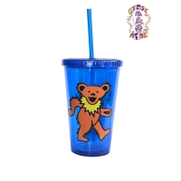 Grateful Dead Plastic Dancing Bear Cup With Straw