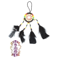 SUEDE LEATHER DREAMCATCHER WALL HANGING ORNAMENT WITH FEATHERS
