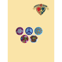 ASST LOVE AND PEACE BUTTON