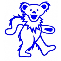 LARGE GRATEFUL DEAD DANCING BEAR CUTOUT RUB ON STICKER