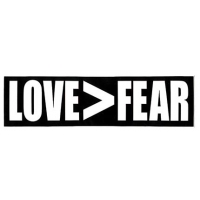 LOVE>FEAR SMALL BUMPER STICKER