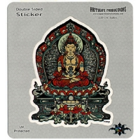 BUDDHA RED & TEAL SITTING STICKER