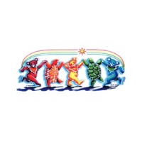 GRATEFUL DEAD RAINBOW DANCING BEARS & TURTLES WINDOW STICKER