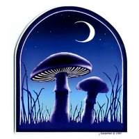 2 MUSHROOMS UNDER THE MOON STICKER