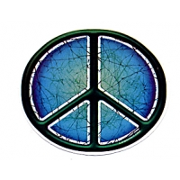 BATIK PEACE SIGN OVAL WINDOW STICKER