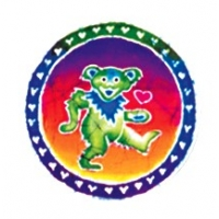 GRATEFUL DEAD BATIK DANCING BEAR WITH RING OF HEARTS WINDOW STICKER