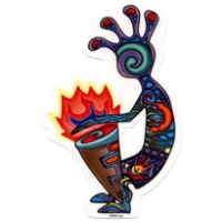 KOKOPELLI COLORFUL WINDOW STICKER