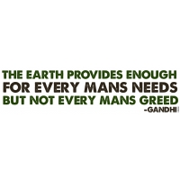 THE EARTH PROVIDES.. GANDHI BUMPER STICKER