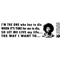 "JIMI HENDRIX ""I'M THE ONE..."" - IF 6 WAS 9 QUOTE BUMPER STICKER"