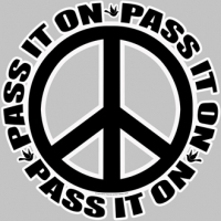 PEACE SYMBOL PASS IT ON BUMPER STICKER