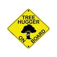 TREE HUGGER ON BOARD BUMPER STICKER