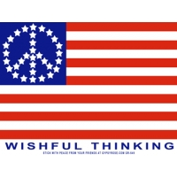 Wishful Thinking Peace Stars Flag Sticker