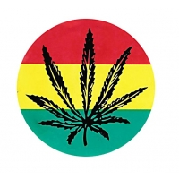 4.25 inch Rasta Cannabis Leaf Sticker