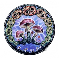 MUSHROOMS & SPIRALS WINDOW STICKER
