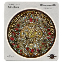 THE GRATEFUL DEAD WOODCUT MANDALA STEAL YOUR FACE WITH ROSES STICKER