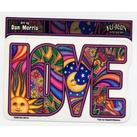 LOVE PSYCHEDELIC LETTERS WINDOW STICKER
