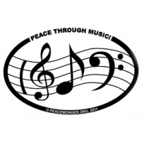 PEACE THROUGH MUSIC W/NOTES OVAL STICKER
