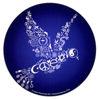 Coexist Peace Dove Interfaith Round Color Sticker
