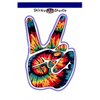 TYE DYE PEACE SIGN HAND STICKER