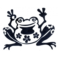 FLOWER FROG CUTOUT ROB ON STICKER
