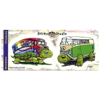 """Slow & Steady"" Buses Turtles 2-Stickers Set"