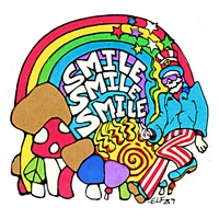 SMILE SMILE SMILE RAINBOW & SHROOMS STICKER
