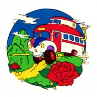 SKULL BUS IN MOUNTAINS WITH ROSE STICKER