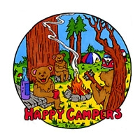 GRATEFUL DEAD HAPPY CAMPERS DANCING BEARS WINDOW STICKER