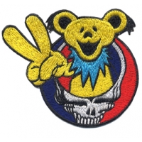 GRATEFUL DEAD STEAL YOUR FACE PEACE OUT DANCING BEAR PATCH