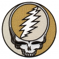 GRATEFUL DEAD XL STEAL YOUR FACE GOLD SPARKLE PATCH