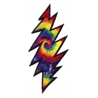 GRATEFUL DEAD SMALL RAINBOW TYE DYE LIGHTNING BOLT PATCH