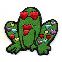 Frog With Hearts Patch