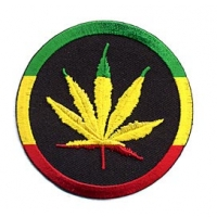 Rasta Pot Leaf Circle Patch