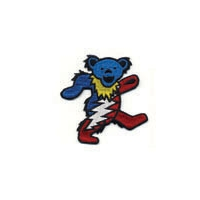 GRATEFUL DEAD RED WHITE AND BLUE DANCING BEAR WITH BOLT PATCH
