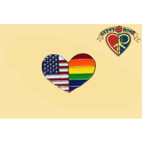 American Flag Rainbow Heart Lapel Pin