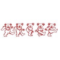 GRATEFUL DEAD LARGE 5 DANCING BEARS CUTOUT RUB ON STICKER
