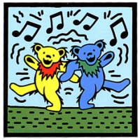 Grateful Dead Dancing Bears On Blue with Music Notes Sticker