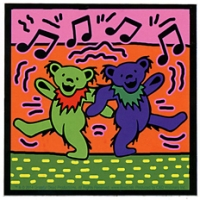Grateful Dead Dancing Bears On Orange with Music Notes Sticker