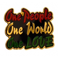 One People One World One Love Metal Sticker