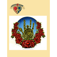 JERRY HAND WITH ROSES STICKER