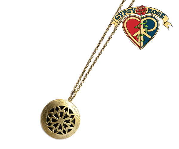 Essential Oils Gold Cut Out Diffuser Necklace: Gypsy Rose