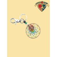 Dream a Peaceful Dream Hemp Dreamcatcher Keychain w/ Wood Peace Pendant