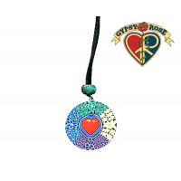 Heart Disc On Cord Necklace
