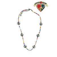 Peace Sign Charm With Colored Beads Necklace