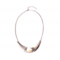 Silver & Cream Bead Bib Necklace