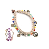 PEACE SIGN WITH BEADS ON HEMP BRACELET