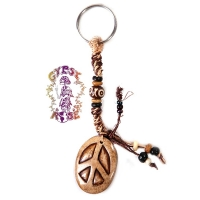 HEMP KEY CHAIN WITH BONE PEACE PENDANT