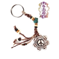 HEMP KEY CHAIN WITH BONE PEACE FLOWER PENDANT