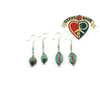 TIBETAN STYLE ASSORTED TURQUOISE DANGLE EARRINGS