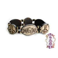 IMAGINE PEACE STRETCH BONE BRACELET